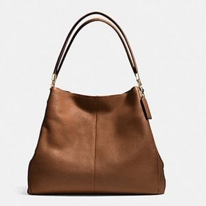 Coach Phoebe Pebble Leather Shoulder Bag Saddle